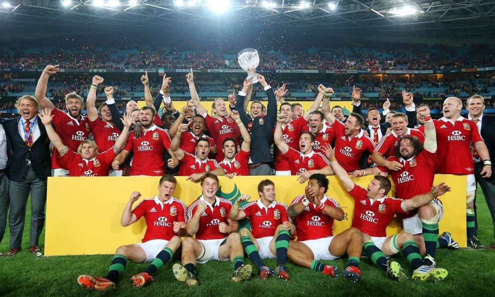 British and Irish Lions Tour to Australia 2013   3rd Test Australian Wallabies vs British and Irish Lions ANZ Stadium Sydney Australia 6/7/2013 British and Irish Lions's  celebrate with the Tom Richards Trophy after the match Mandatory Credit ©INPHO/Billy Stickland